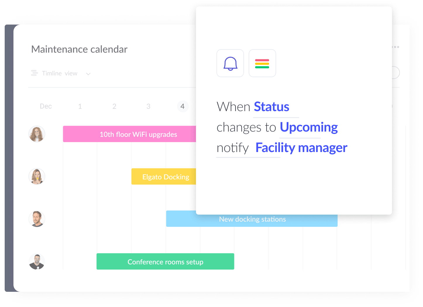 Timeline view with status change automation recipe on the right side