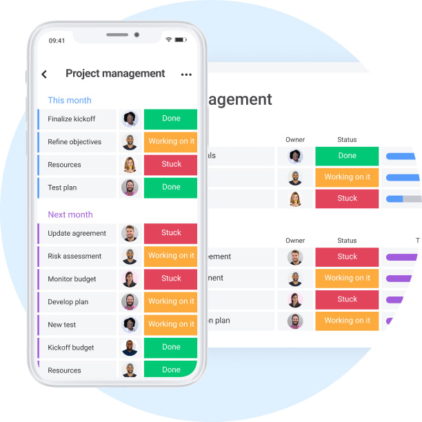 project management on both phone and desktop