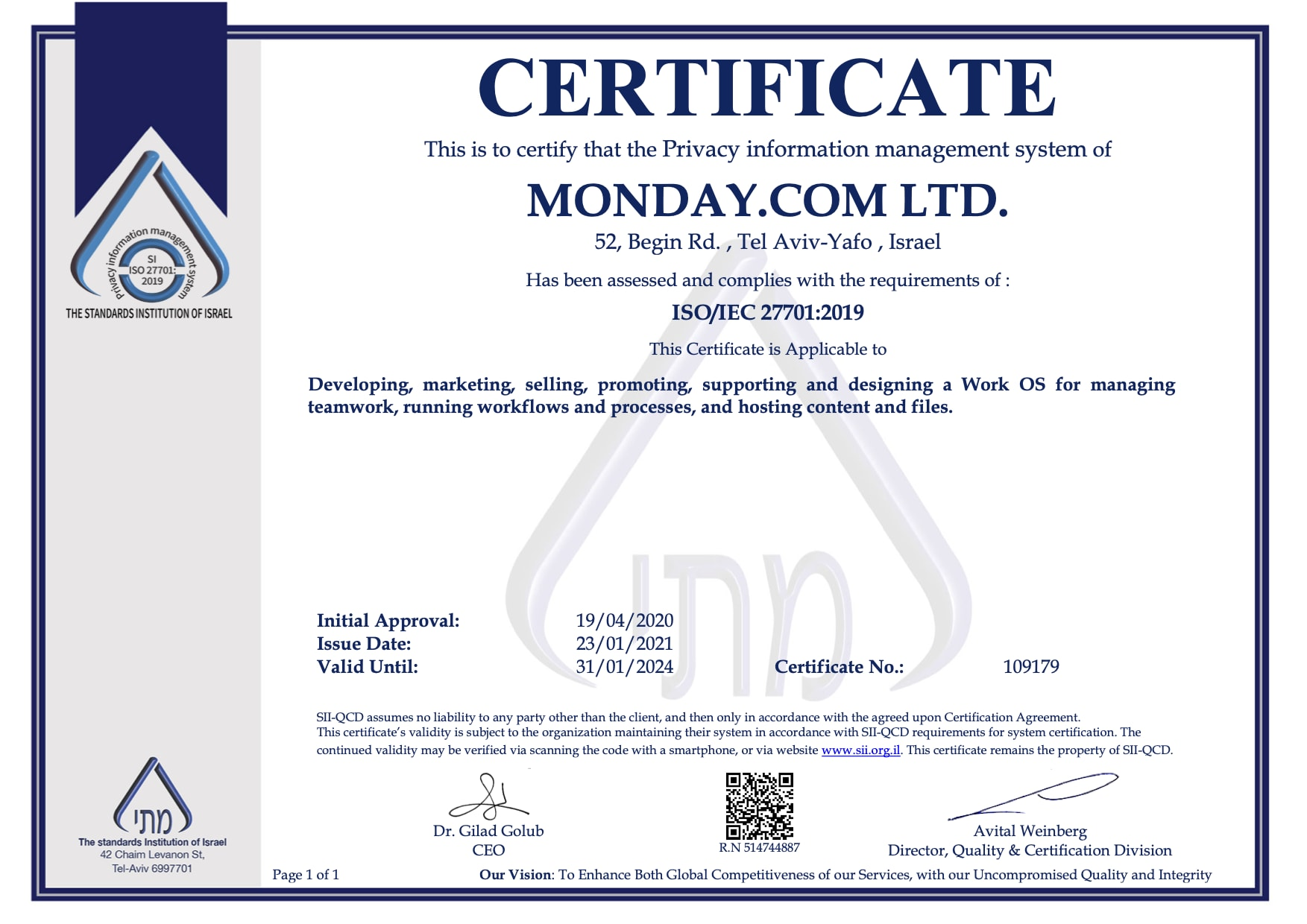 MONDAY.COM LTD. 27701