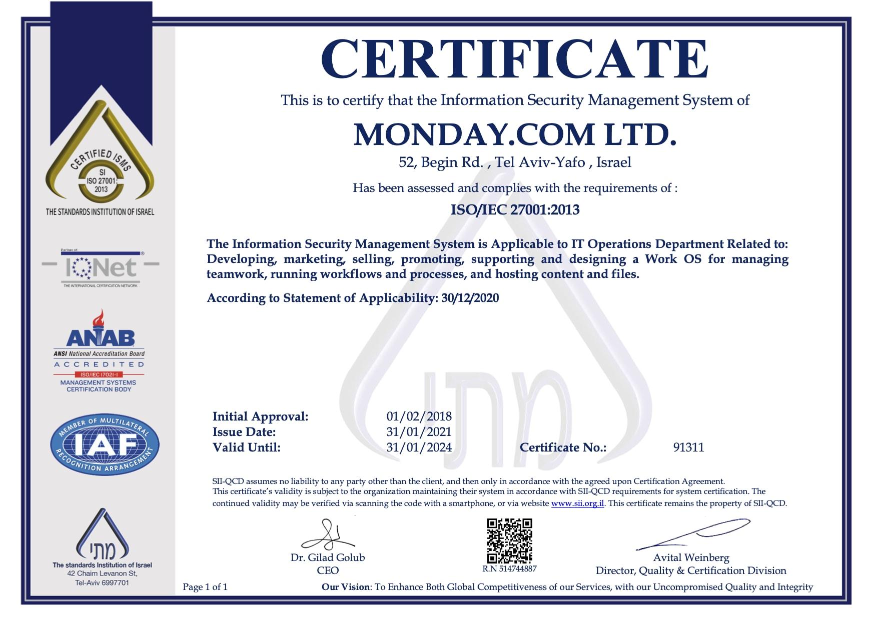 MONDAY.COM LTD 27001