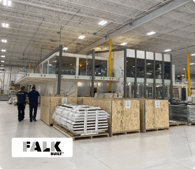 Falkbuilt factory floor and office with logo