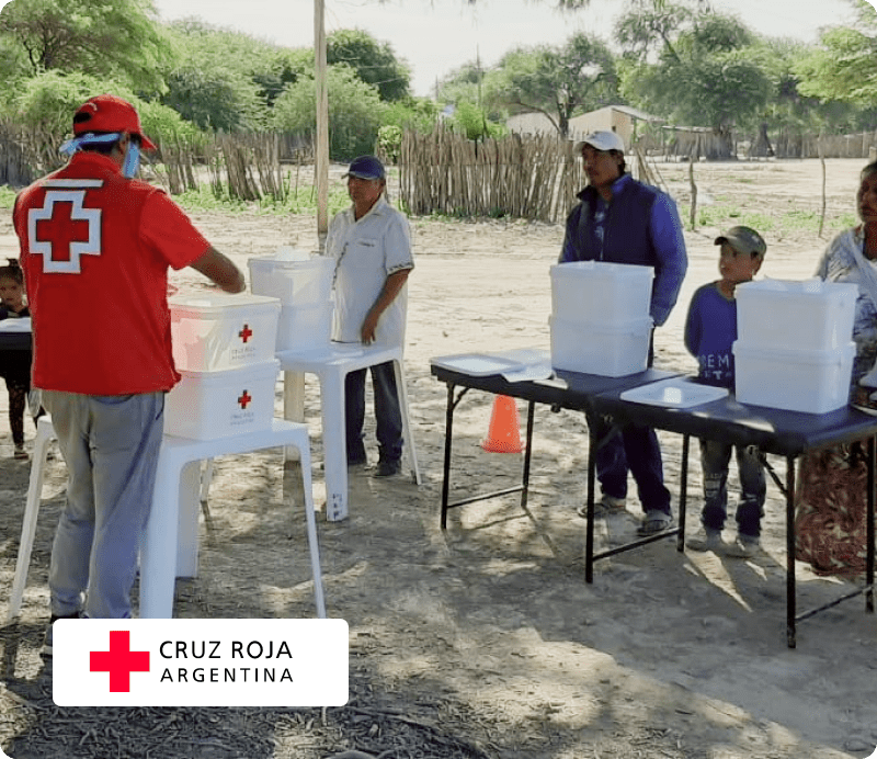 Red Cross Argentine team out in the field with logo