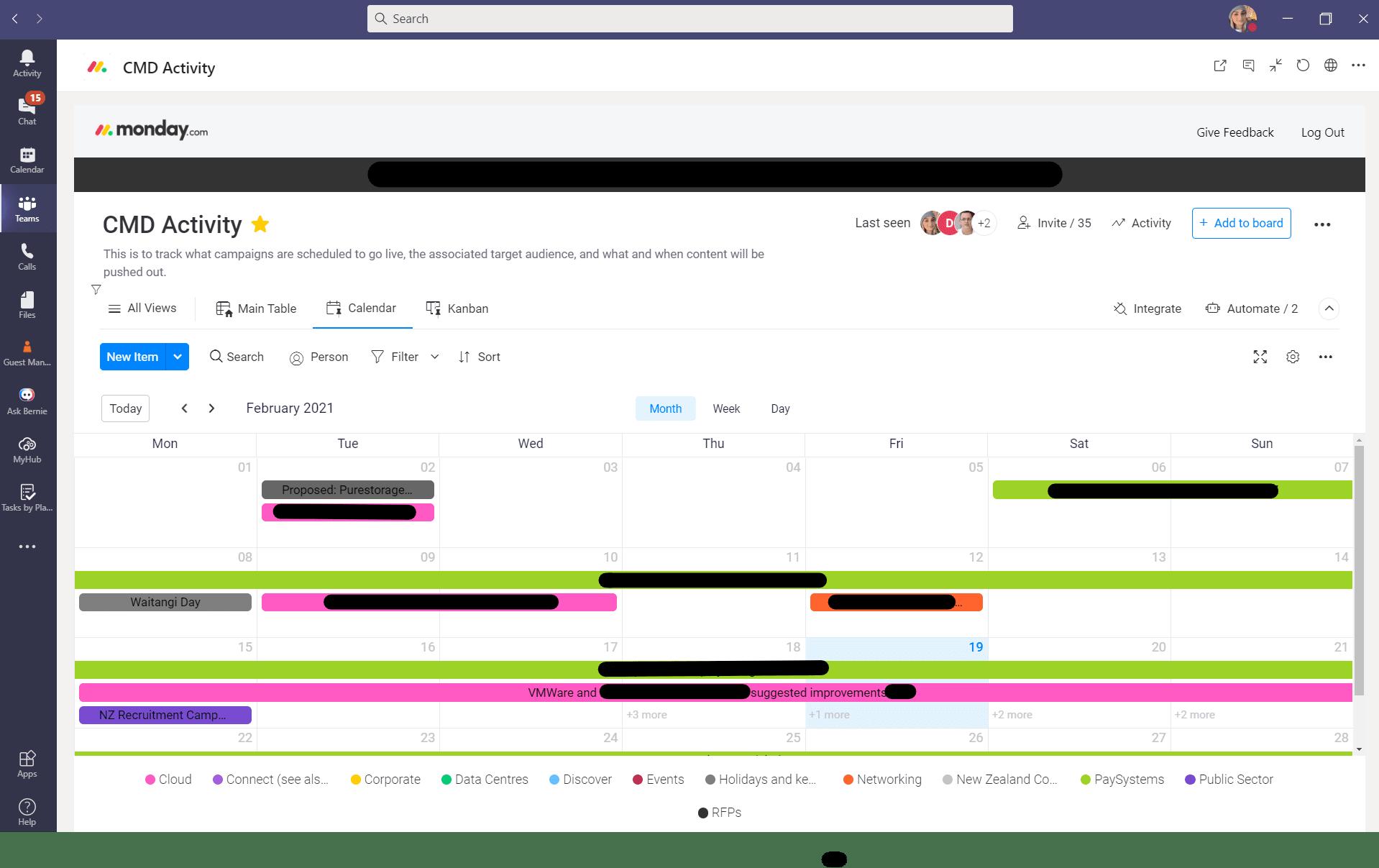 monday.com CMD Activity in teams Screenshot
