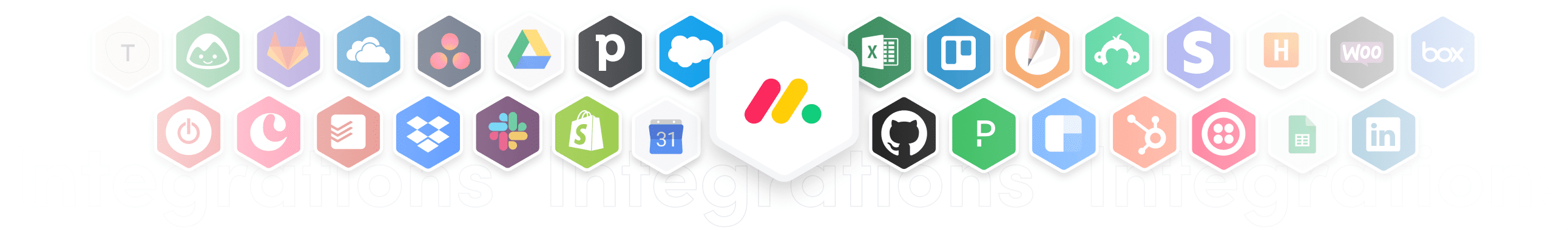 Integrations logos, such as- Excel, Shopify, Slack, Asana etc.