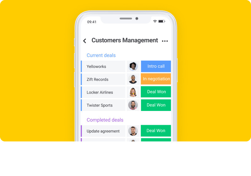 Mobile view of customer management board