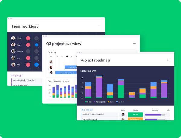 team worklo and product roadmap charts