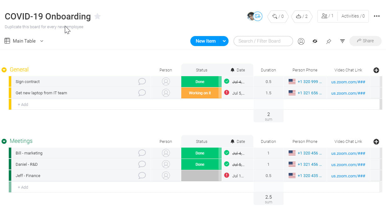 COVID-19 Onboarding Template