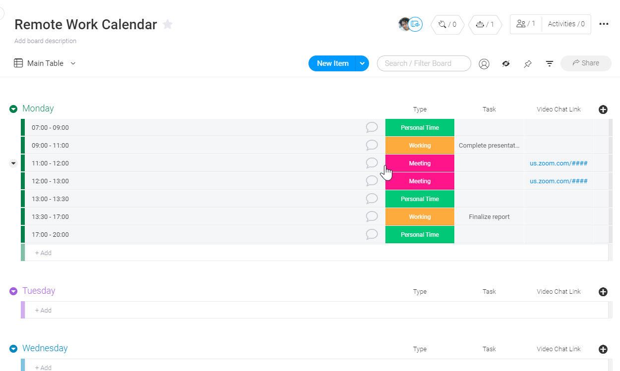 Remote Work Calendar Template