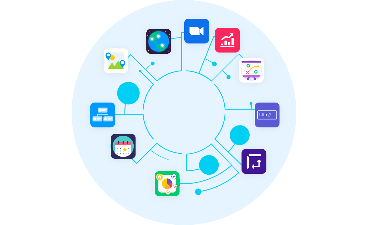 Circle connecting monday App logos together