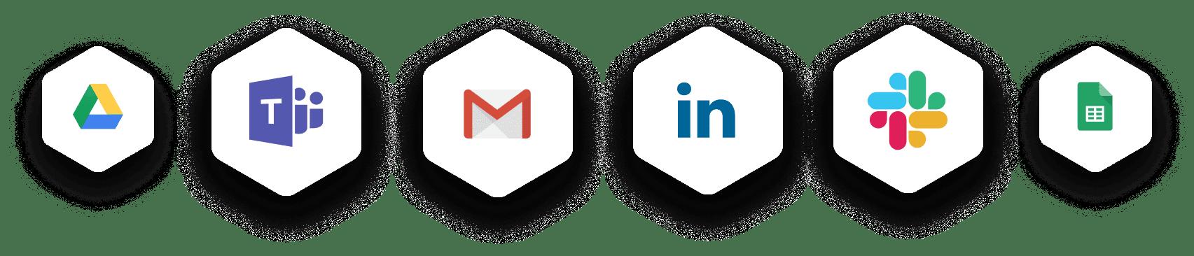 Logos for Google Drive, Microsoft Teams, Gmail, LinkedIn, Slack, and Google Docs