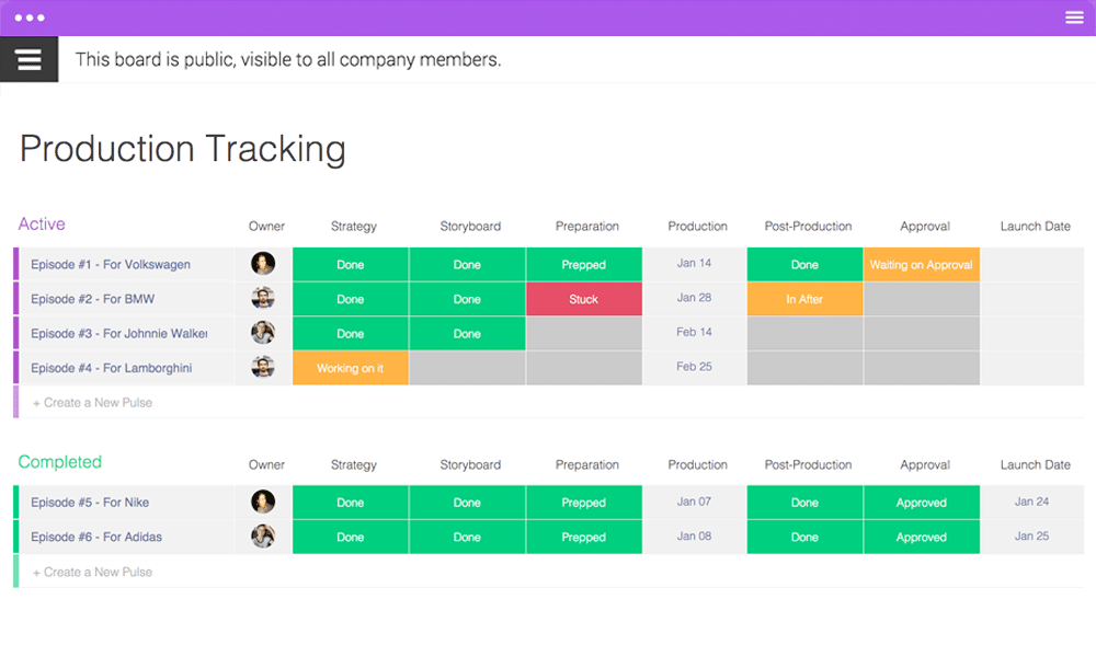 Production Tracking Template