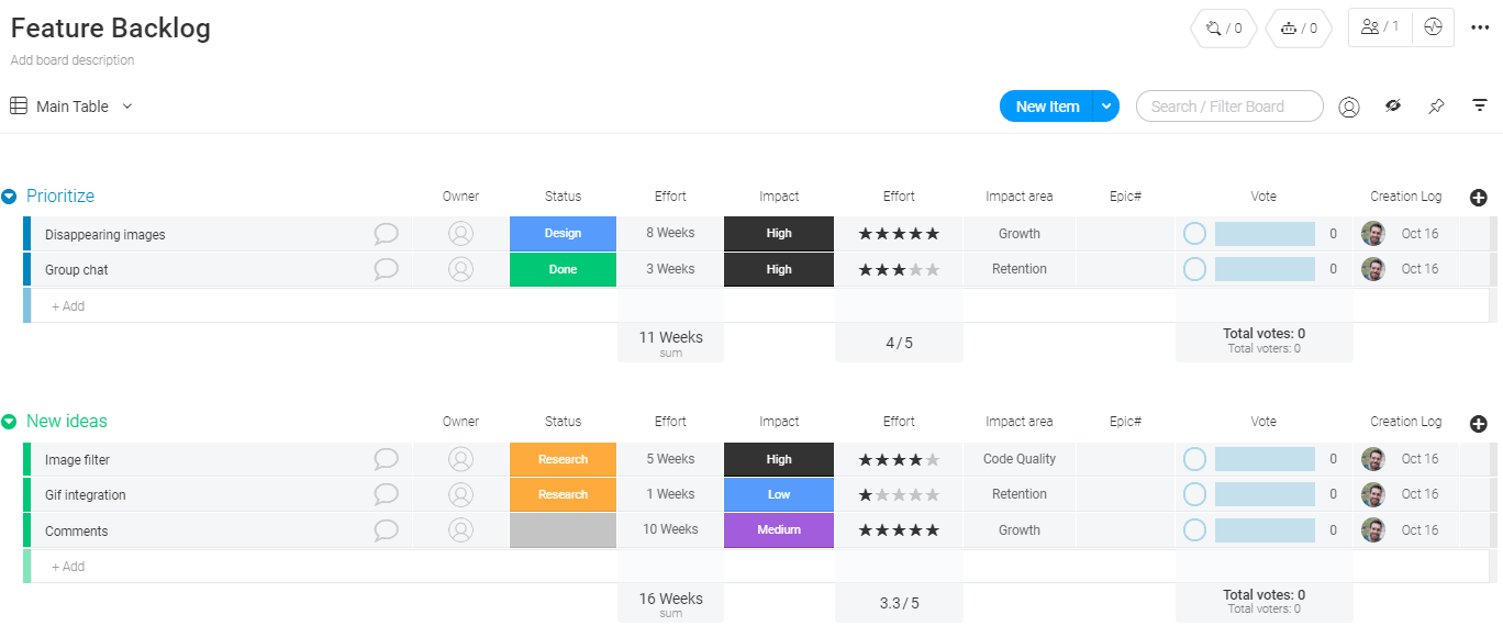 Feature Backlog Template