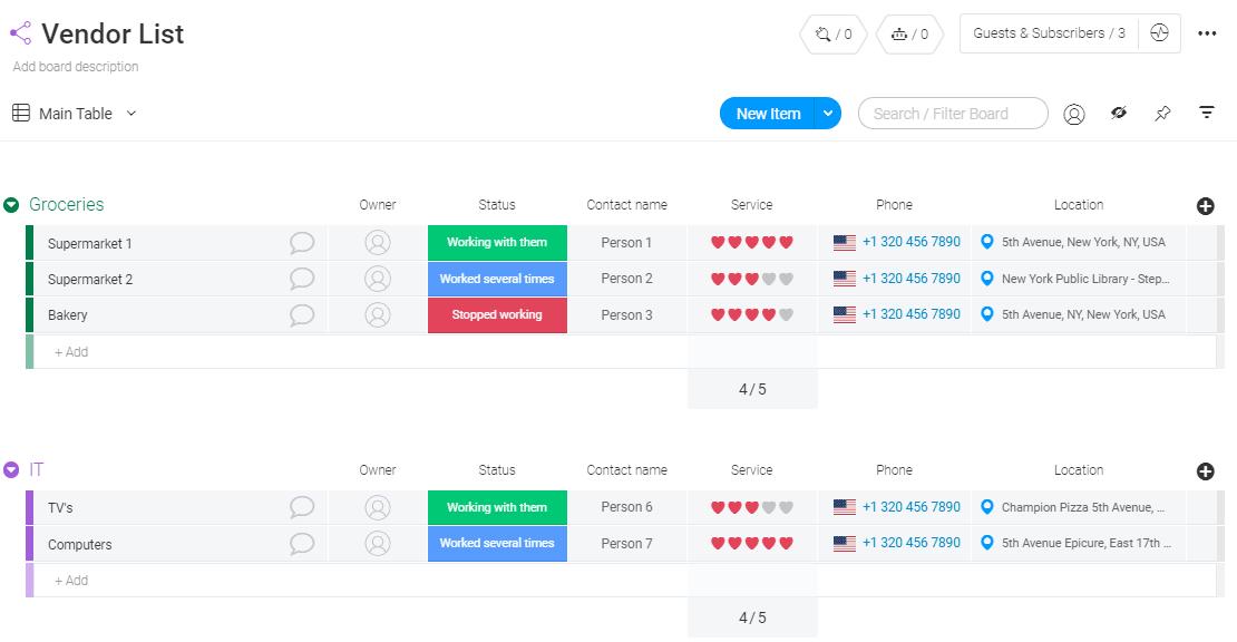 vendor list template