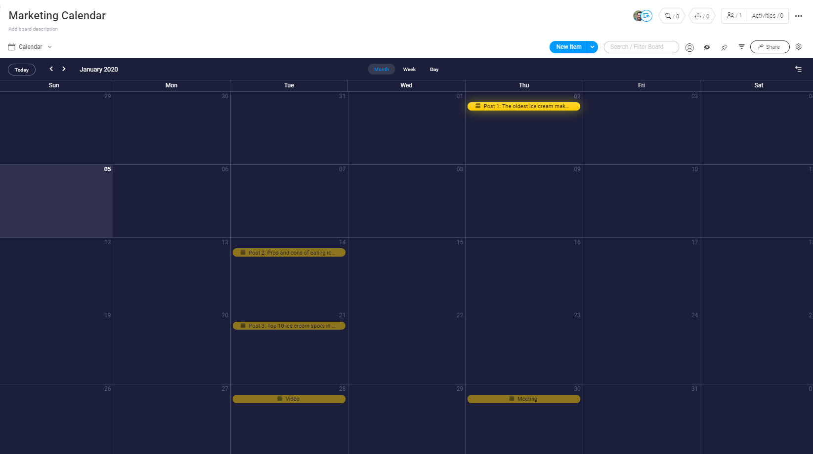 Marketing Calendar Template - Calendar View