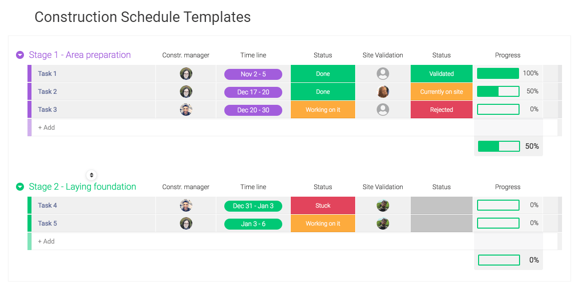 Construction Schedule Templates