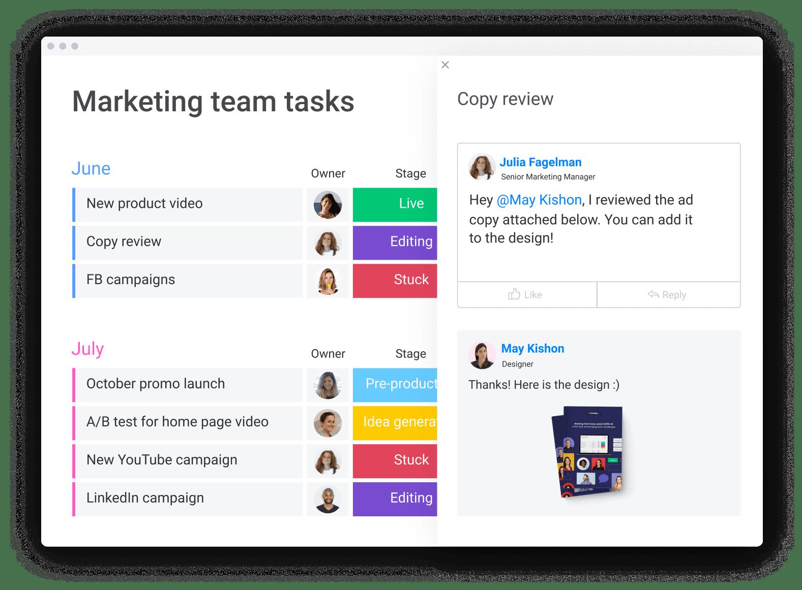 Marketing team tasks board with updates