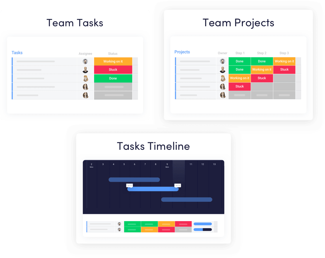 Team tasks, team projects and tasks timeline