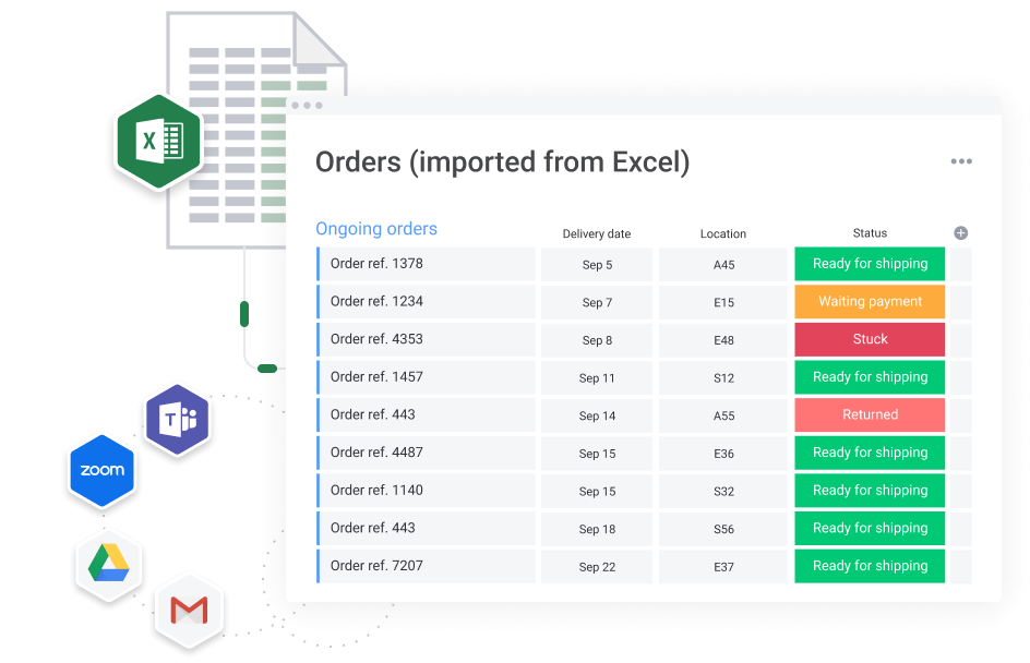 import from excel and other integrations