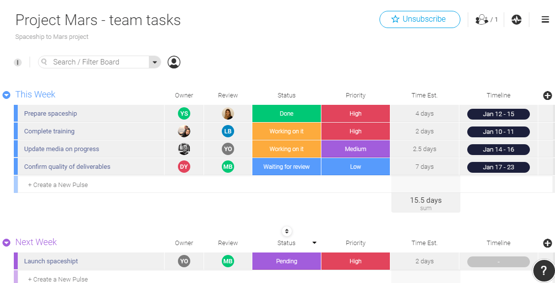 task management template