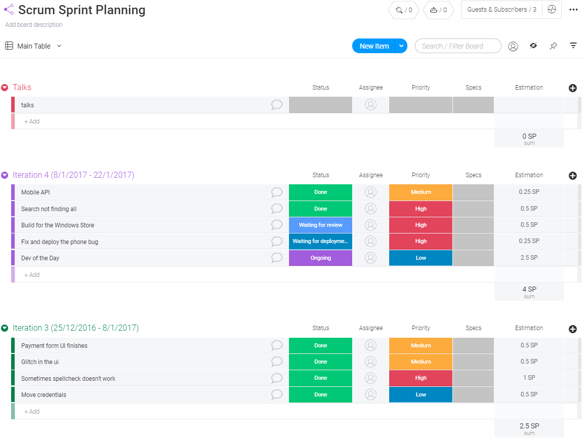 Scrum Planning Template