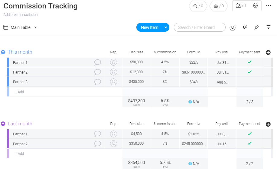 commission tracking template