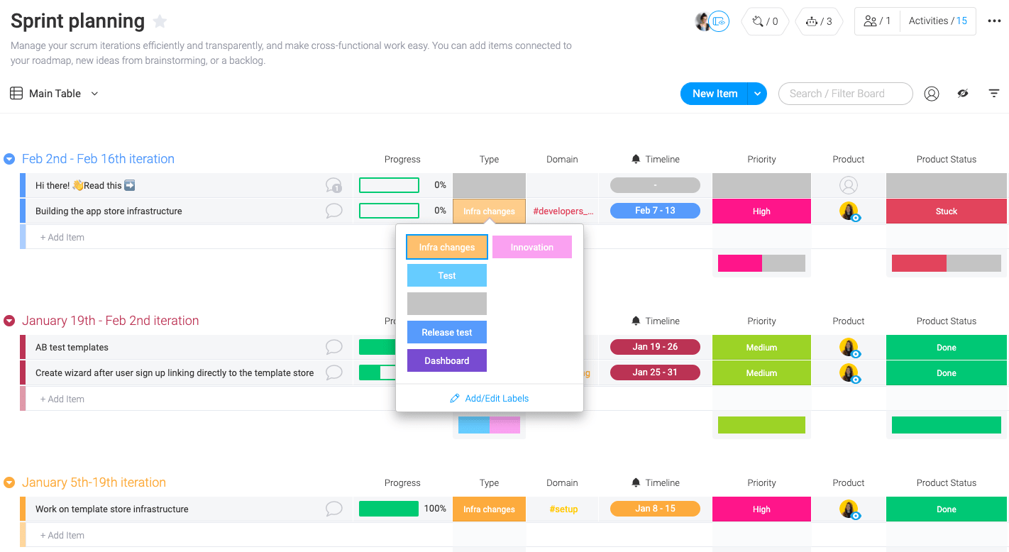 Manage you sprint iterations