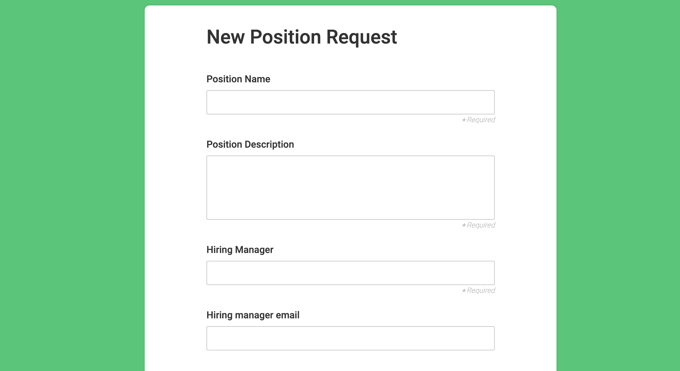 New Position Request