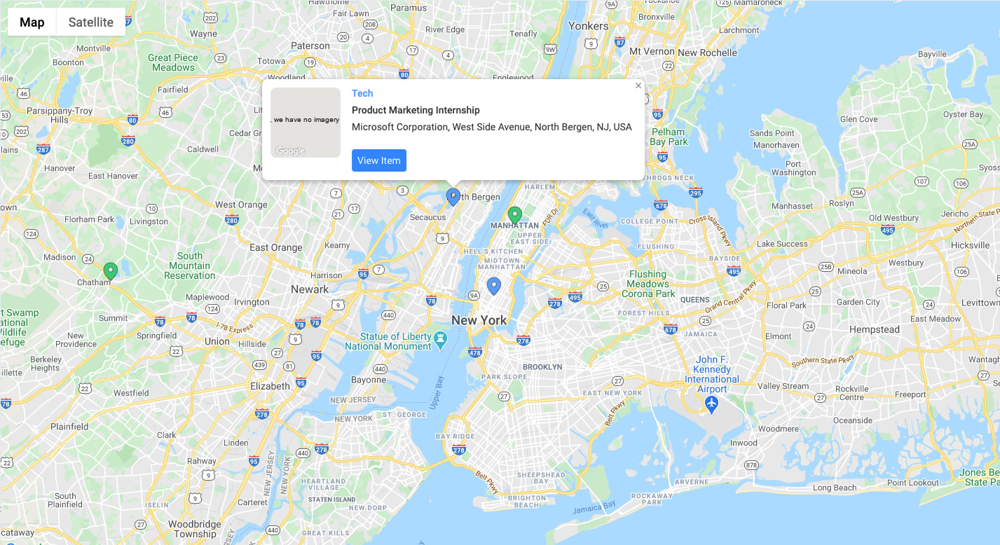 View your internship applications on a map view and know where you heading.