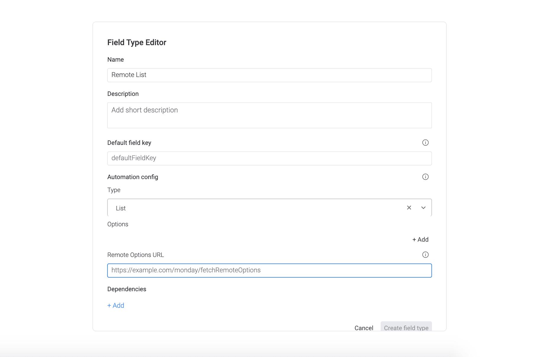 custom field URL